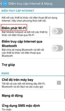 Phát wifi từ điện thoại Android cho laptop
